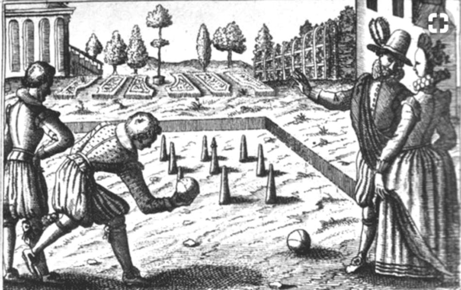 16th century sketch of lawn bowling.