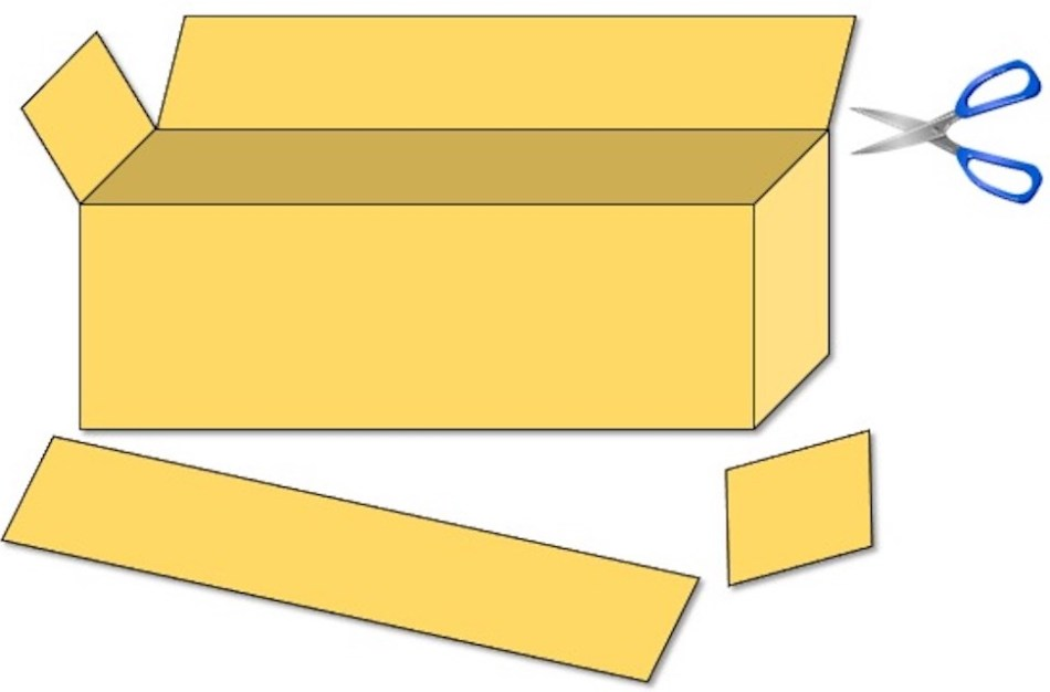 Cardboard box with with panels removed and scissors to remove two remaining panels.