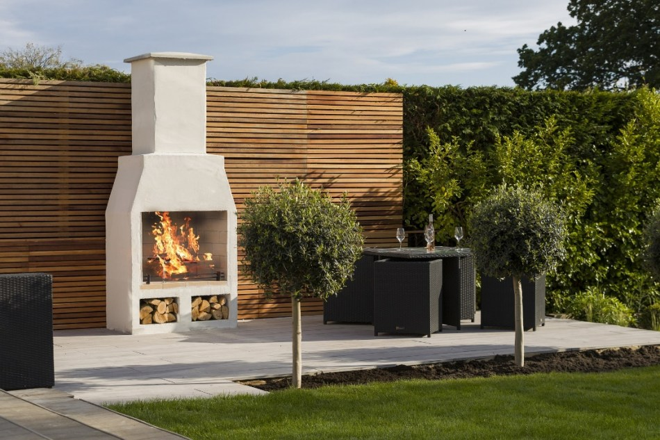 outdoor fireplace on terrace.