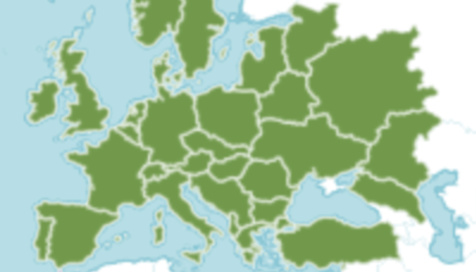 Maps showing natural range of English ivy throughout Europe into Asia.