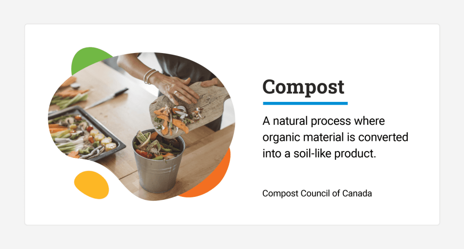 Woman putting kitchen scraps into bucket on table.