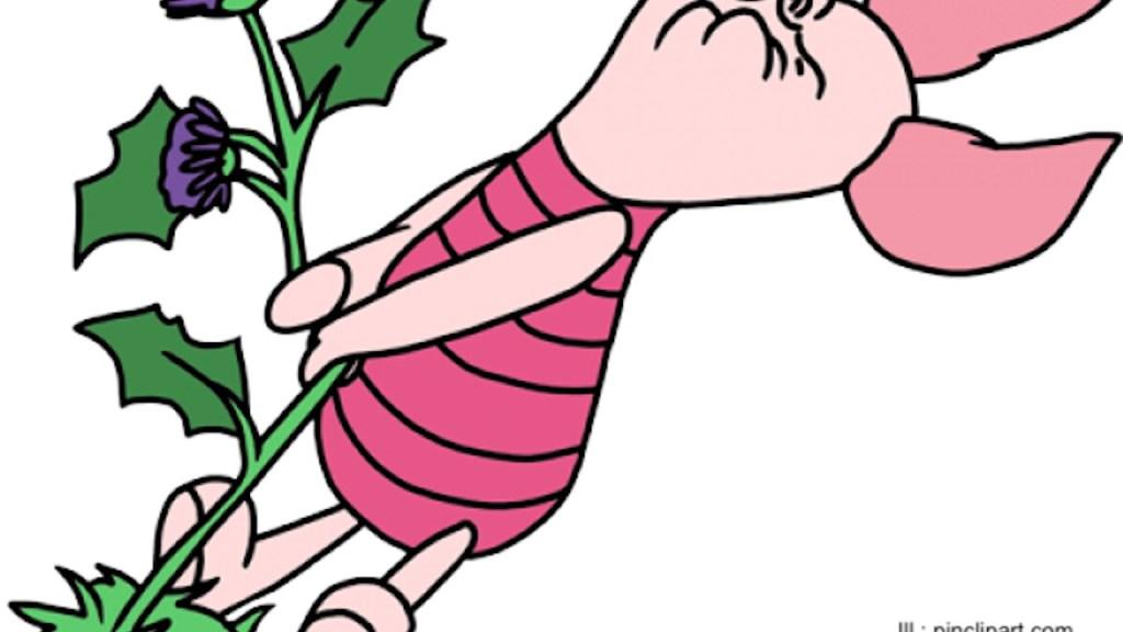 Piglet pulling weed.
