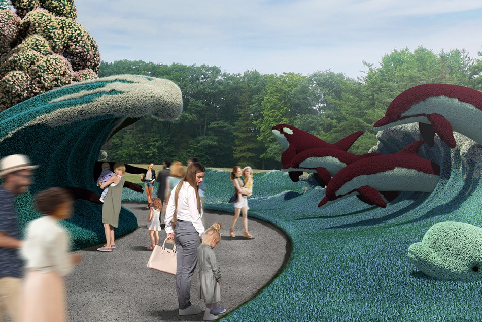 Aquatic scene with mosaiculture sculptures of a dolphin and two killer whales leaping from a plant-covered wave.