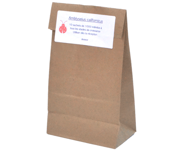 Brown paper bag of beneficial mites.