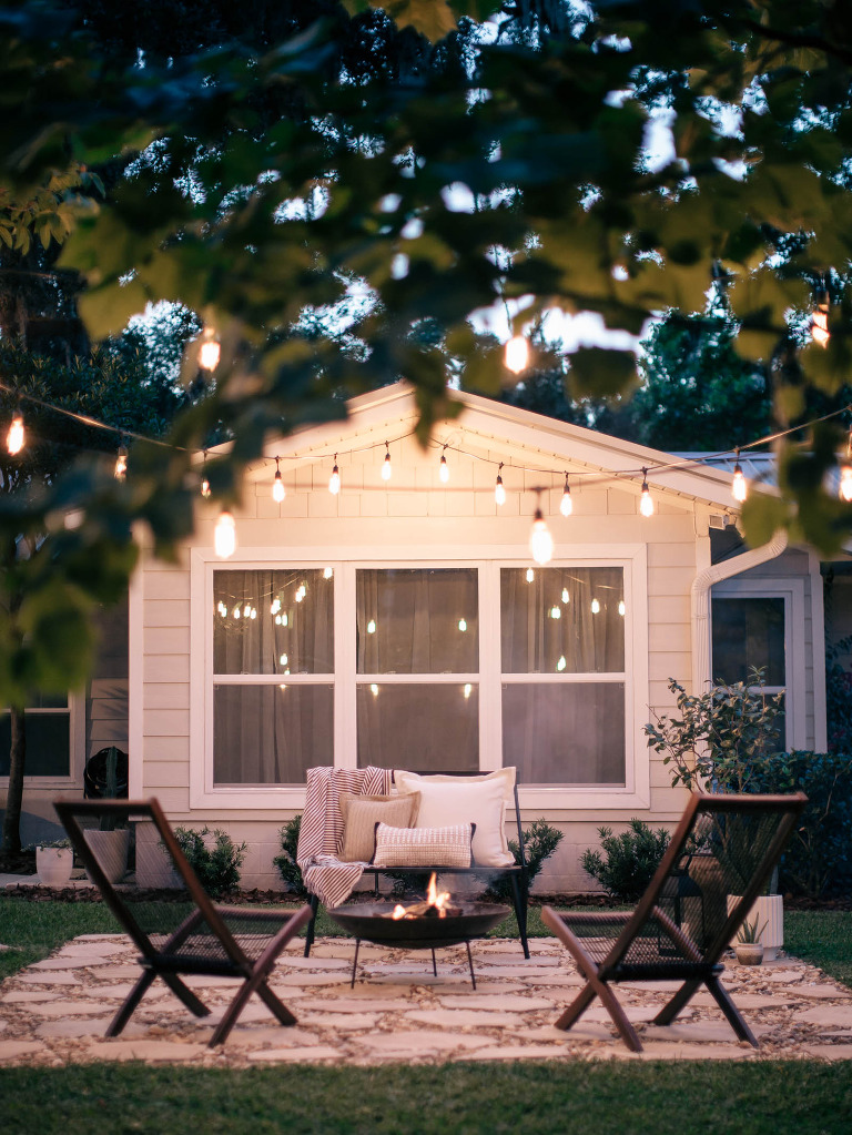 DIY Fire Pit with String Lights » Laine and Layne on Backyard String Lights Diy id=52454