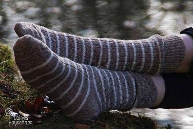 Laines Paysannes gamme de chaussettes rayées laines locales
