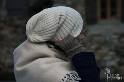 Laines Paysannes ensemble bonnet et écharpe blanc en laines locales