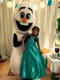 Olaf with the birthday girl, Cara