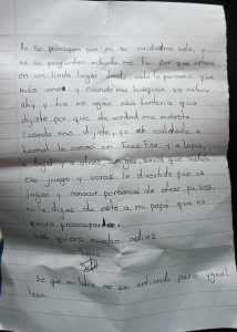 Carta encontrada en su dormitorio