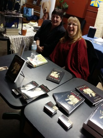 alt=Cassie and Laini at Authors for Altruism