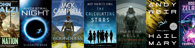 A montage of seven science fiction and fantasy book covers