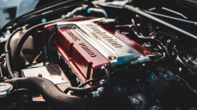 battery and oil filter of modern car
