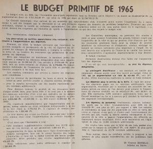 Le budget primitif de 1965