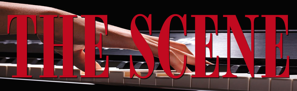 logo for the word scene with hand in background playing piano