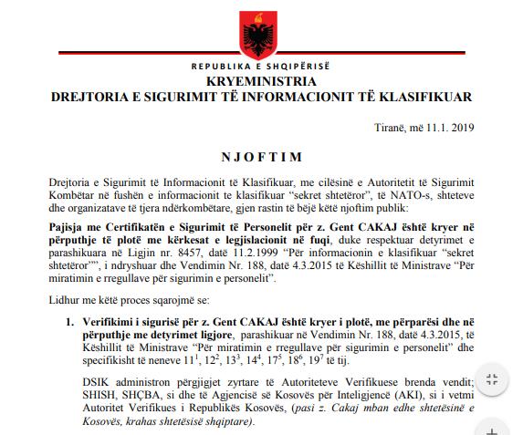 DSIK i përgjigjet Metës: Certifikata e sigurisë së Cakajt