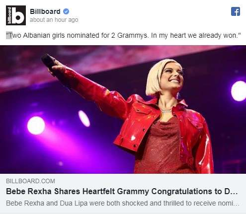 """Billboard: Dy shqiptare nominohen për """"Grammy"""", Bebe Rexha me urim të përzemërt për Duan"""
