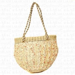 Cane Fabric Mix Hand Bag