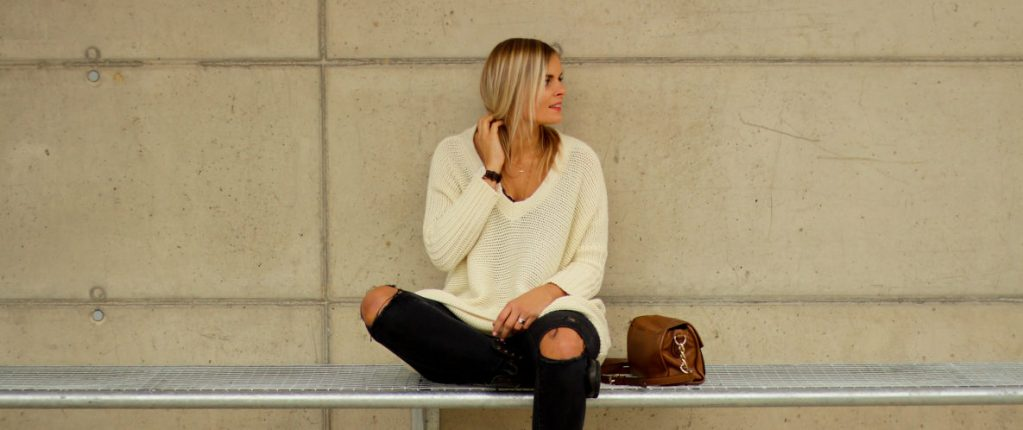 Outfit – Oversized Pullover und Ripped Jeans