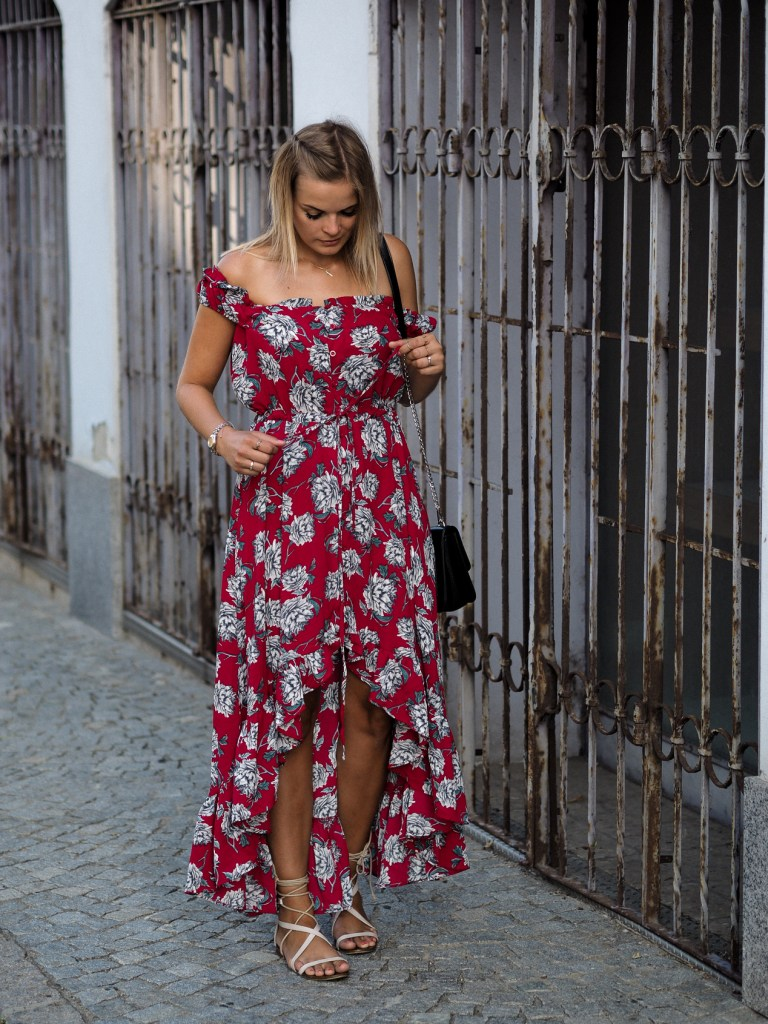 Rotes Kleid, Blumenkleid, Shein, Outfit, Fa