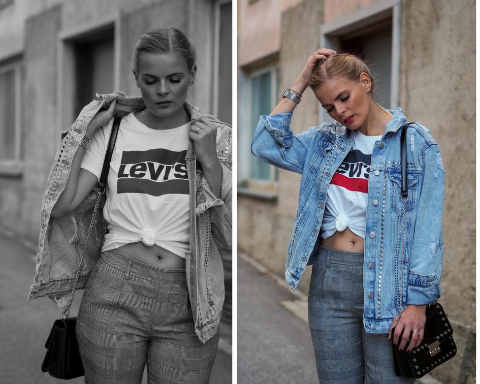 Karohose, Herbstrends, Oversized Jeansjacke, Lewis Shirt, Converse, Fall, Fashion, Outfit, Style, Streetstyle, Fashionblogger, Lakatyfox
