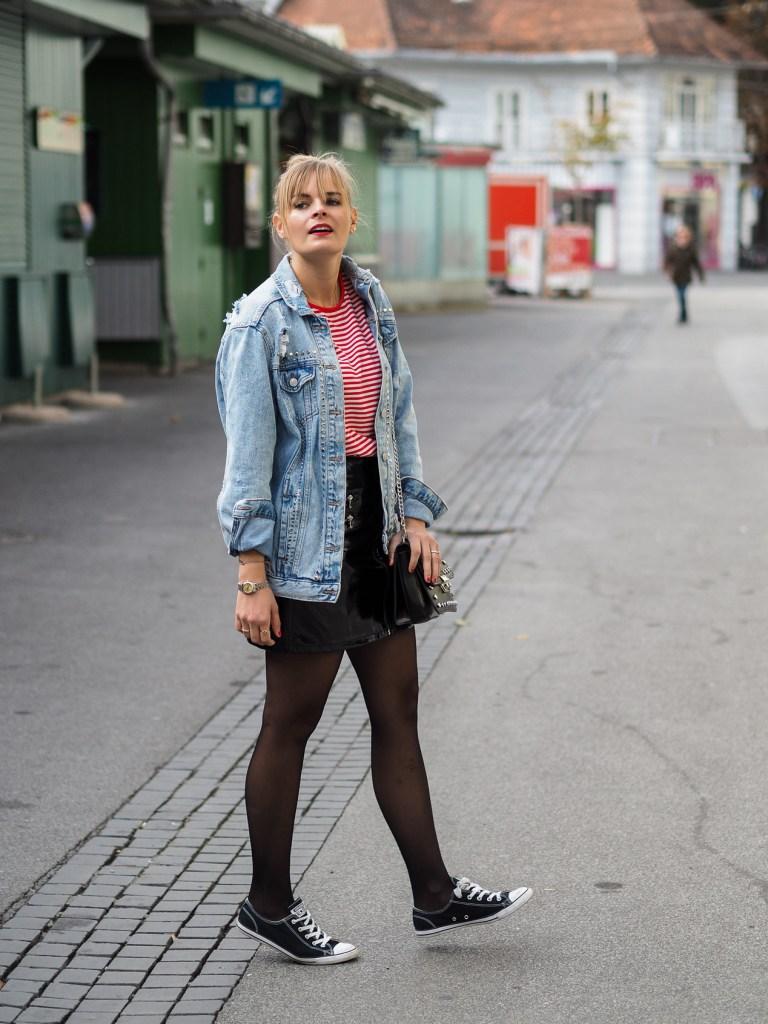 Stripes, Steifenshirt, Streifen, Lackrock, Lederrock, Converse, Streetstyle, Herbstlook, fashionblog, fashionblogger