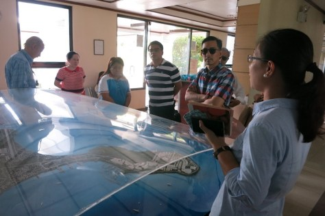 The MDG on Cruise Tourism makes an inspection visit of Poro Point in San Fernando, La Union, as potential homeport. Eliza Maconocido, Manager for Business Development, Poro Point Management Corporation (PPMC), a subsidiary of the Bases Conversion Development Authority (BCDA) briefs the group about the site development plan of the Poro Point Free Port Zone.