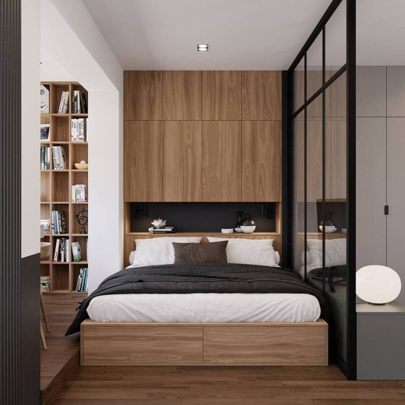 Гостиная, спальня и рабочая зона в маленькой квартире в комнате, практическое разделение пространства на зоны