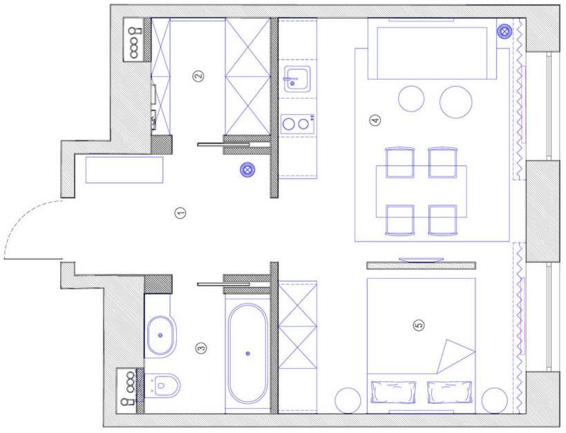 Элегантная небольшая квартира с сочетанием темных тонов и дерева на 36м2