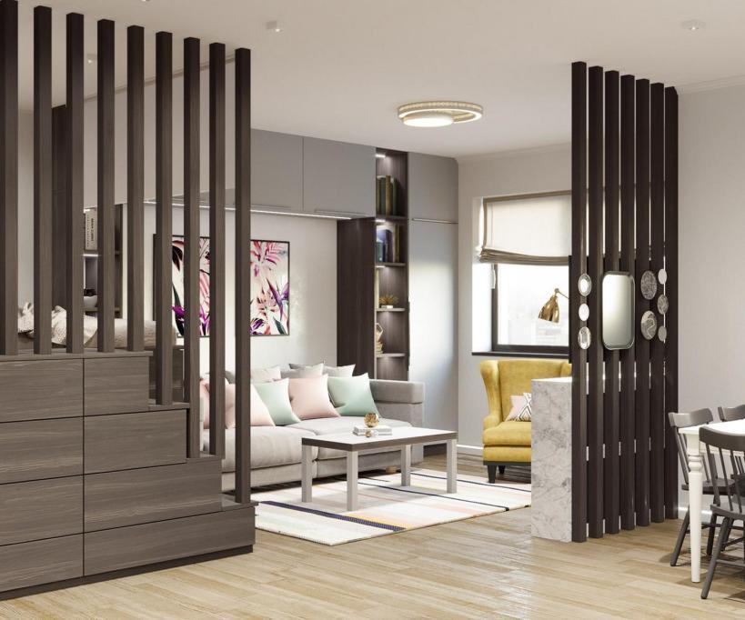 Пространство, разделенное деревянными перегородками, приподнятая кровать с кладовкой в вашей молодой новой однокомнатной квартире.