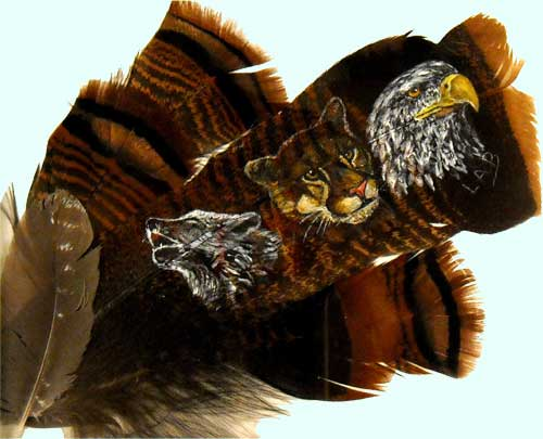wolf lion & eagle on feathers