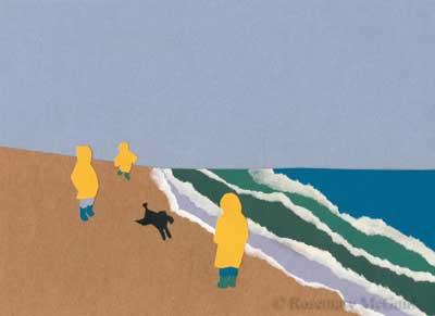 Foggy Beach Cut Paper Art by Rosemary McGuirk