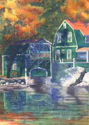 Fall Colors Boathouse by JoAnn Pippin