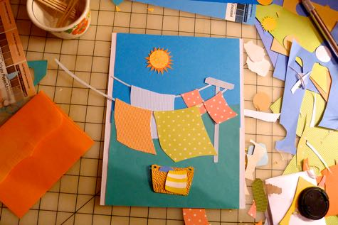 Laundry Day Paper Collage by Rosemary McGuirk