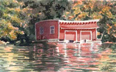 Old Red Boathouse by JoAnn Pippin
