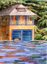 Blue Doors - Lake Sunapee Boathouse by JoAnn Pippin