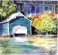 Classic In Teal - Lake Sunapee Boathouse by JoAnn Pippin
