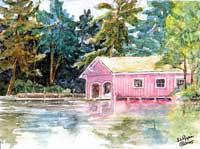 Star Island Boathouse - Lake Sunapee Boathouse by JoAnn Pippin