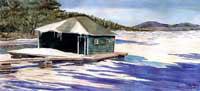 Winter Boathouse - Lake Sunapee Boathouse by JoAnn Pippin