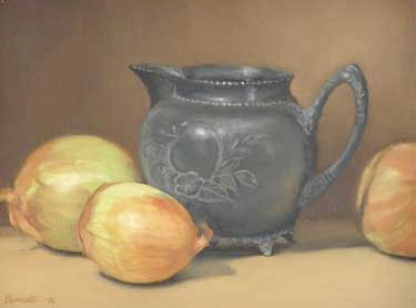 Pewter Pitcher with Onions by Susan Parmenter