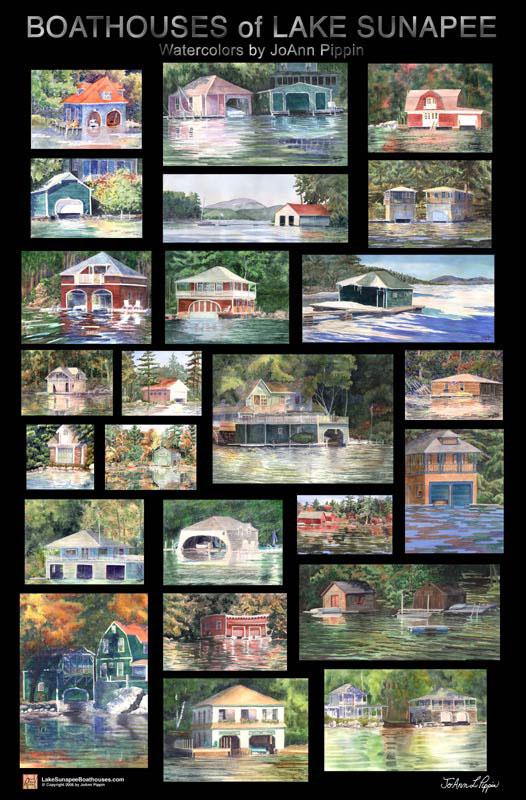 Boathouses Of Lake Sunapee Large Poster Lake Sunapee Living