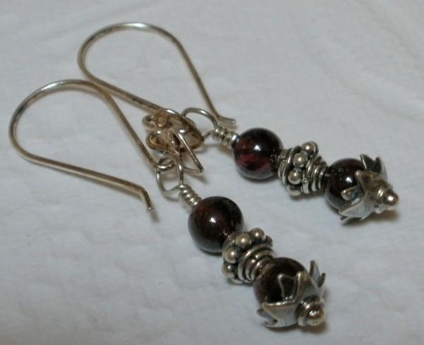 Antiqued Garnet Decorative Sterling Silver Earrings Bali 925 Components Petite Short Length Semi Precious Deep Red Gemstones Gems SE137