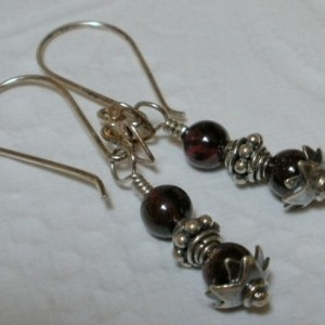 Antiqued Garnet Decorative Sterling Silver Earrings Bali 925 Components Petite Short Length Semi Precious Deep Red Gemstones Gems SE137