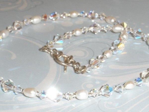 Stunning Swarovski Crystal AB White Freshwater Pearl Necklace Simple Elegant Bride Bridal Jewellery Jewelry Wedding Single Strand SS109
