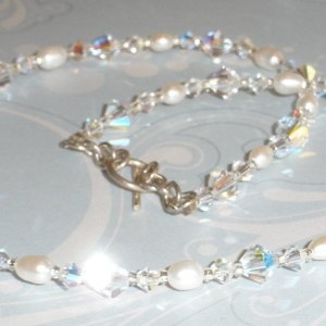 Stunning Swarovski Crystal AB White Freshwater Pearl Necklace Simple Elegant Bride Bridal Jewellery Jewelry Wedding Single Strand SS109