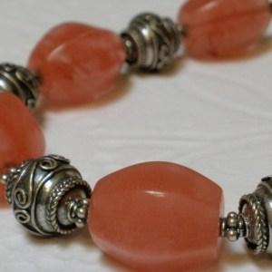 Chunky Cherry Quartz Semi Precious Gemstone Decorative Bali Sterling Silver Beads Unique Handcrafted Bracelet Toggle Clasp Bangle Wrist