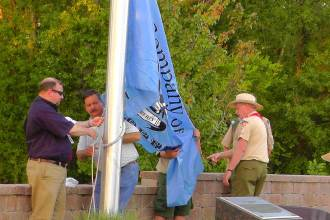 One of the thirteen flag raisings this year at Texas Flag Park.