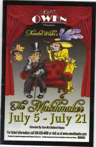 "Playbill for ""The Matchmaker"" to be performed at the Owen Theatre."