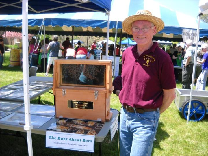 Ray Forsyth is ready to show the LCBA observation hive to visitors at the Earth Day celebrations