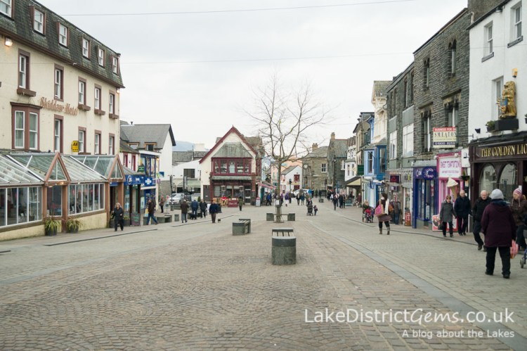 The pedestrian zone in the centre of Keswick