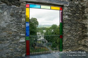 Looking through the coloured windows of Claife Viewing Station